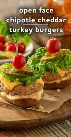 Open faced chipotle turkey burgers, seasoned with Worcestershire sauce, smoky chipotle pepper and topped with sharp cheddar cheese.