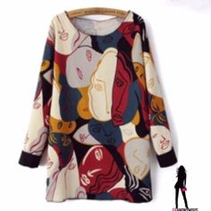 "Multi-Color Modern Art Faces Tunic Size 4 So chic! Color rich modern art faces adorn this long sleeve mini dress/ tunic. Wear alone as short mini or  as tunic with leggings. Great piece! 30"" long. Cotton/poly broadcloth. Un Hemmed look. Pic 3 shows unfinished hem. Fits size 4 or 2. Dresses Mini"