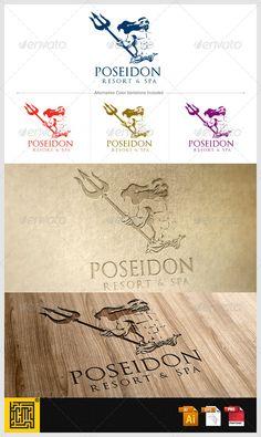 Poseidon Resort and Spa logo — Vector EPS #neptune #mythology • Available here → https://graphicriver.net/item/poseidon-resort-and-spa-logo/5651129?ref=pxcr