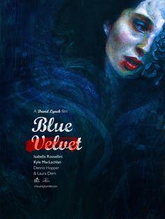 Blue Velvet / David Lynch / 1986 by Jana Heidersdorf Illustration Movie Poster Font, Movie Poster Frames, Movie Posters For Sale, Film Poster Design, Poster Fonts, Cinema Posters, Poster Text, David Lynch, Blue Velvet Movie