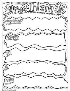 Fun printable, coloring Graphic Organizers at Classroom Doodles from Doodle Art Alley. Reading Lessons, Reading Strategies, Reading Activities, Reading Comprehension, Math Lessons, Third Grade Reading, Middle School Reading, Writing Art, Teaching Writing