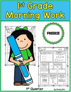 First Grade Morning Work Sample. Teaching First Grade, First Grade Reading, First Grade Classroom, 1st Grade Math, Grade 1, Second Grade, First Grade Freebies, 1st Grade Worksheets, Professor