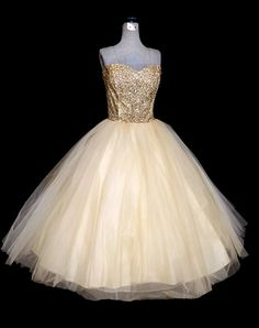Vintage 50s Dress // 1950s Strapless Dress Bronze Sequins and Ivory Tulle Princess Dress // 1950s Tea Length Prom Dress