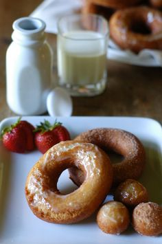 Whole Wheat Buttermilk Doughnuts.  Not fried!  SO YUMMY!!!  And way healthier!  Oh man....mouth watering.
