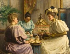 Five O'Clock Tea  by David Comba Adamson  victorian art ladies tea afternoon tea 1890s