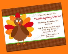 This adorable turkey is the perfect way to invite family, friends, and loved ones to your Thanksgiving dinner!  (by: Digital Art Star)