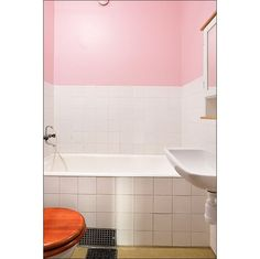 Our might be the other way - white walls, pink tiles