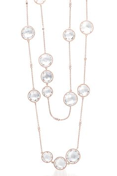 "MSRP: $699.99  Our Price: $399.99  Savings: $300.00    Item Number: GN1030(73)    Availability: Usually Ships in 5 Business Days    PRODUCT DESCRIPTION:    This beautiful necklace features brilliantly faceted clear quartz gemstones in a classic Gems-By-The-Yard design . The necklace measures 32 inches and is finished with 14k Rose GoldPlating.    FEATURES:    Crafted in .925 Sterling Silver  Clear Quartz  Classic ""Gems-By-The-Yard"" Design  32 Inch Length  14k Rose Gold Plated    PRODUCT…"