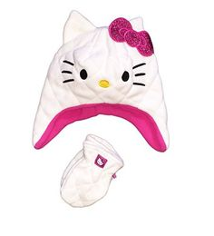 ed9de74321a Hello Kitty Little Girls Toddler 2T-5T Plush Fleece Hat   Mitten Set
