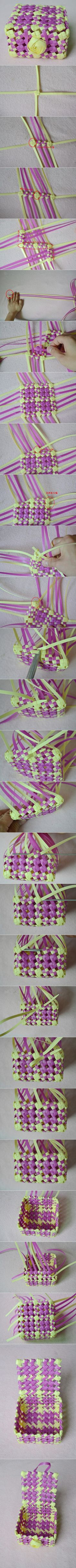 packing belt weaved basket tutorial