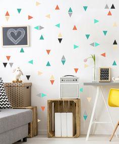 Mini triangle wall decals, triangle confetti, childrens wall decal, unique…