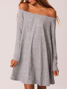 Grey Long Sleeve Off The Shoulder Dress