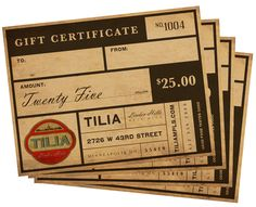 Attractive gift certificates from Tilia restaurant.