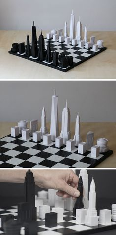 This modern chess set has pieces that represent the New York City skyline and includes buildings like the One World Trade Tower, the Empire State Building, the Chrysler Building, the Flatiron Building, the Guggenheim Museum and a Brownstone House.