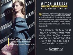 """dramioneimagines:  Hermione Malfoy in Witch Weekly's special issue """"The Woman Who Changed Everything""""(part one)"""