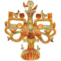 Must research. | Vintage Mexican Tree of Life Candelabrum by Aurelio Flores