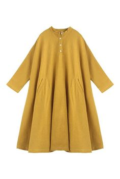 Fabric:                  Fabric has some stretchSeason:                Autumn, Spring, WinterType:                     Shirt DressPattern Type:        PlainSleeve Length:     Long SleeveColor:                    Yellow and WhiteDresses Length:   MaxiStyle:                     CasualMaterial:                Cotton & LinenNeckline:               One ShoulderSilhouette:            DressFree Size(Cm):     Shoulder width:40 cm, Bust:148 cm,Sleeve Length:62 cm,Length:104