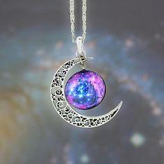 Women's Galaxy Star Moon Time Gemstone Pendant Necklace – USD $ 2.99