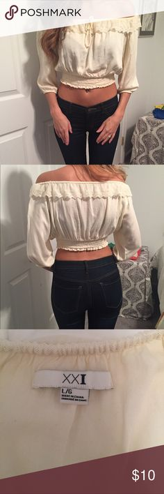 Ivory and Lace Crop Top New without Tags. Ivory Crop Top with lace. Size Large. Runs small. Forever 21 Tops Crop Tops