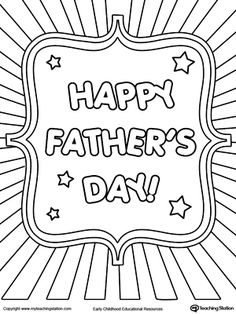 **FREE** Father's Day Card Burst Coloring Page Worksheet. Color the words Happy Father's Day and the lines in this Father's Day coloring page.