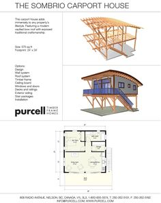 The Sombrio Carport House: Featuring a modern vaulted bow roof with exposed traditional craftsmanship.