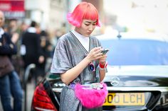 The Most Inspiring Street Style Snaps From London Fashion Week #refinery29  http://www.refinery29.com/london-fashion-week-2014-street-style-photos#slide34  Hair must match handbag. Shape and all.