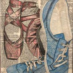 "Val Braun Art.com – Winnipeg Artist 9x12"" collage Pointe Shoes, Dancer, Mixed Media, Collage, Artist, Blue, Beautiful, Fashion, Moda"