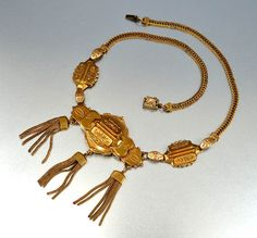 Victorian Revival Brass Foxtail Chain Tassel Necklace 1950s Vintage Jewelry Fleur di Lis $85