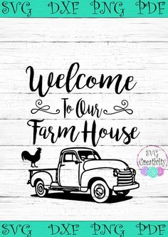 Cricut Projects Discover Welcome to our Farmhouse SVG Welcome to our Farmhouse Vintage Truck SVG Farmhouse SVG Vinyle Cricut, Cricut Vinyl, Vinyl Decals, Cricut Fonts, Svg Files For Cricut, Wall Decals, Vintage Clipart, Perfumes Vintage, Silhouette Cameo Projects