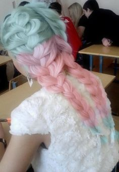 ombre candy color french braids