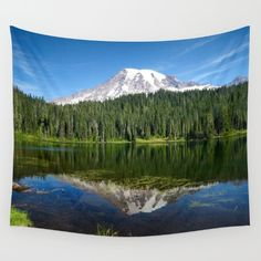 Available in three distinct sizes, our Wall Tapestries are made of 100% lightweight polyester with hand-sewn finished edges. Featuring vivid colors and crisp lines, these highly unique and versatile tapestries are durable enough for both indoor and outdoor use. Machine washable for outdoor enthusiasts, with cold water on gentle cycle using mild detergent - tumble dry with low heat.  Mount Rainier, national park, reflection lake, landscape, home decor, tapestry, dorm decor, wall art, nature…