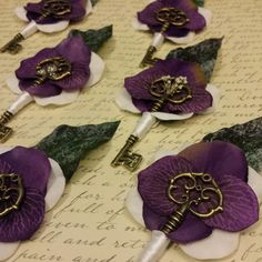 Beautiful set of purple key boutonnieres in the works