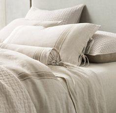 Belgian Linen Provence Stripe Duvet Cover - traditional - duvet covers - Restoration Hardware