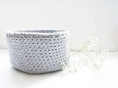 Neutral grey color crocheted basket made from 5mm cotton cord.  Perfectly for storing your little things,beautiful and functional.      Hight: about 14cm   Diameter: about 24cm  Washable at 30 degrees   HOW IT'S MADE?  I create all the things with love and passion. I make unique home decor products, friendly to environment. I am passionate about natural materials and nature! My products will give your home a personality. 30 Degrees, Unique Home Decor, Natural Materials, Little Things, Cord, Personality, Gray Color, Neutral, Environment