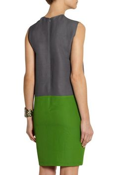 Green and gray ramie-blend piqué  Asymmetric front seam Concealed zip fastening along back 57% ramie, 41% rayon, 2% other fibers Dry clean