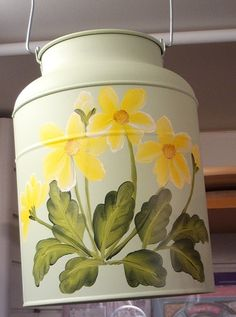 Yellow Flowers on a 'milk-churn' style vase