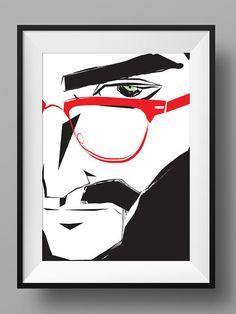 Cool Men Art Print Poster Menswear Vintage Metro Beard GQ