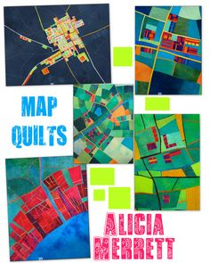 Alicia Merrett map quilts featured on Mary C. Nasser's blog.