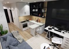 Studio Apartment Design, Small House Interior Design, Studio Apartment Decorating, Apartment Layout, Apartment Interior, Small Apartment Hacks, Small Apartments, Classy Living Room, Kitchen Dining Living