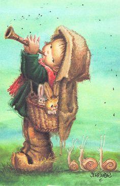 Little Pied Piper - snails, bunnies - (art, illustration) Vintage Christmas Cards, Vintage Cards, Vintage Images, Sarah Kay, Children's Book Illustration, Vintage Children, Retro, Cute Pictures, Modern Art