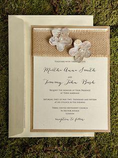 Rustic  Blossom Wedding Invitation, Country Style Wedding Invitations,Birch Bark  Wedding  Invitations, Burlap Wedding Invitation