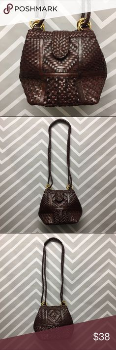 Vintage Elka Faux Leather Woven Purse Gorgeous dark brown faux leather vintage woven purse. Great patterns throughout. Hunter green interior. Button clasp. Body is 8 inches tall and 9 inches wide and the total length with straps is 23 inches. Bags Shoulder Bags