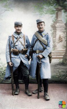 """Portrait de deux """"Poilus"""" du 174e Régiment d'Infanterie. Collection Frédéric Videlaine. http://videlaine.canalblog.com/"""