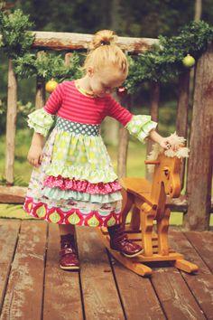 Hip Holiday Ruffle Sleeve Ruffle Apron Christmas Dress Dress in Custom sizes 12m-6