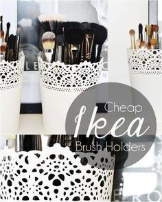 Mini Ikea plant pot as make up brush holder. Perfect on my dressing table. Some one want to go to IKEA and get this for me? Ikea Skurar, Organizing Hacks, Ikea Hacks, Organising, Ikea Plants, Stil Inspiration, Make Up Storage, Storage Ideas, Ikea Storage