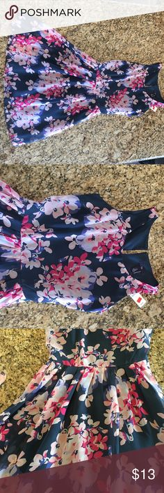 Navy dress with pink and purple floral Navy floral gap dress - New with tags! GAP Dresses
