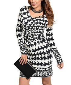 Look at this #zulilyfind! Ivory & Black Houndstooth Dress by Buy in America #zulilyfinds