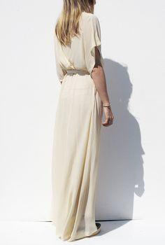 floor-length silk gown.
