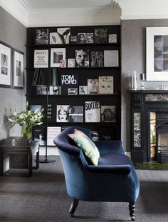 Livingroom, blue couch and black cupboard with books to read.