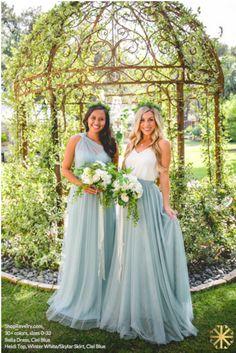 Light Blue Wedding Dress, Wedding Bridesmaid Dresses, Wedding Gowns, Tulle Skirt Bridesmaid, Bridesmaid Outfit, Bridal Party Dresses, Elegant Bride, Winter White, Wedding Ideas